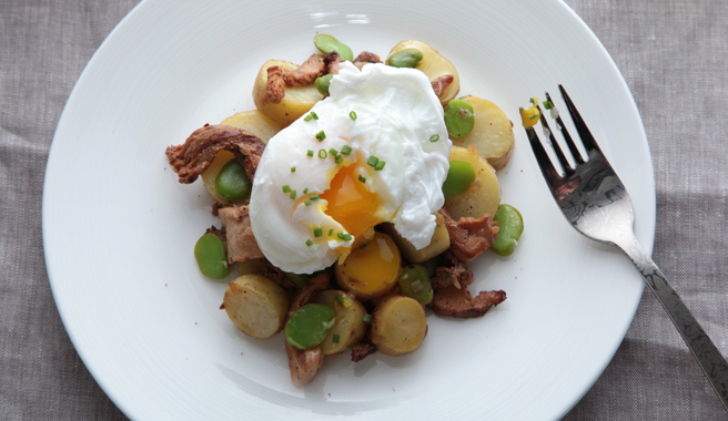 Poached Egg-Topped Fava Bean and Chanterelle Salad