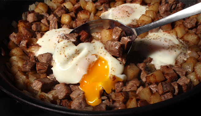 Hash with Steak and Eggs