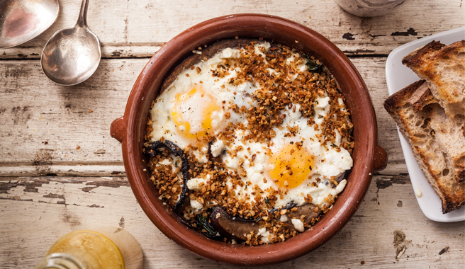 Eggs Baked with Feta, Kale, and Portobello Mushrooms