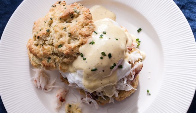 Crab Eggs Benedict with Lemon Chive Biscuits