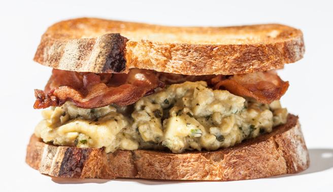 Pesto and Pancetta Egg Sandwich