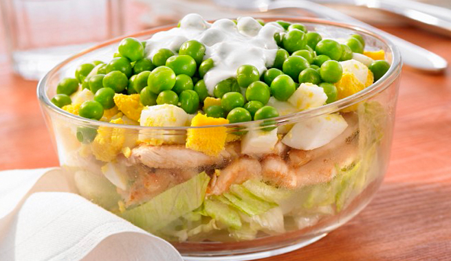 Layered Egg, Chicken and Pea Salad