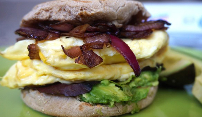 Squash & Caramelized Onion Breakfast Sandwich