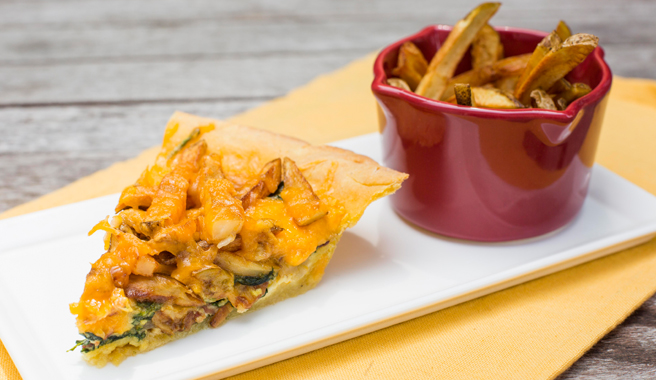 Thin Crispy Fries and Bacon Spinach Quiche with Cornmeal Crust