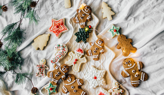 Gingerbread Cutout Cookies with Peppermint Icing