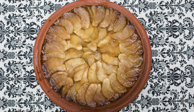 Salted Caramel Upside Down Apple Cake