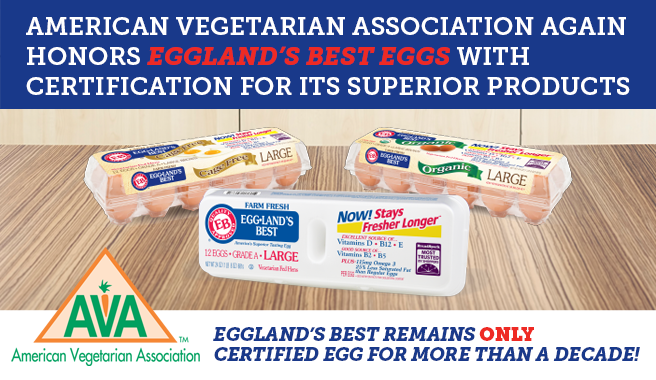 American Vegetarian Association Again Honors Eggland's Best Eggs With Certification For Its Superior Products