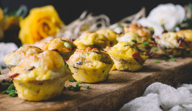 Mini Quiches with Chives, Shallots, & Turkey Bacon