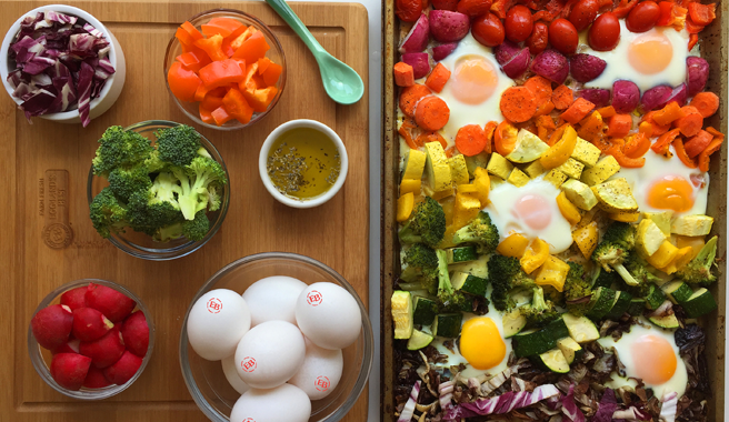 Rainbow Sheet Pan Veggies with Eggs