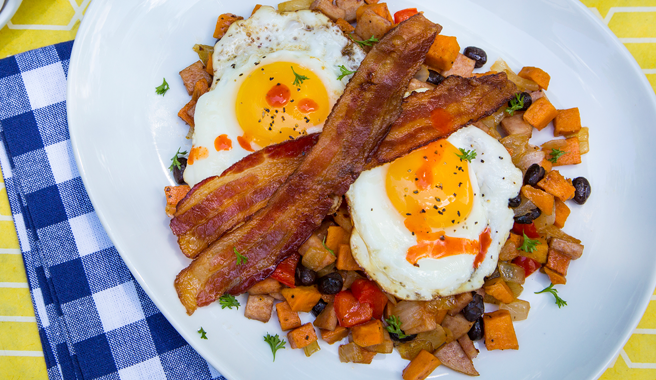 Sunny side-Up Eggs on Pork Roll Hash