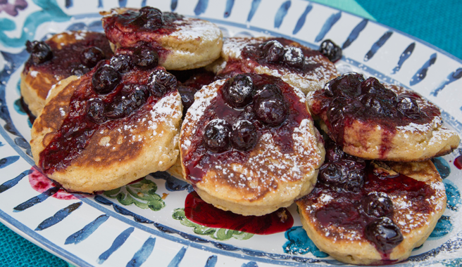 Spiced Corn cakes with Blueberry-Molasses Compote