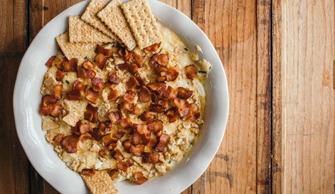 Egg dip topped with bacon bits