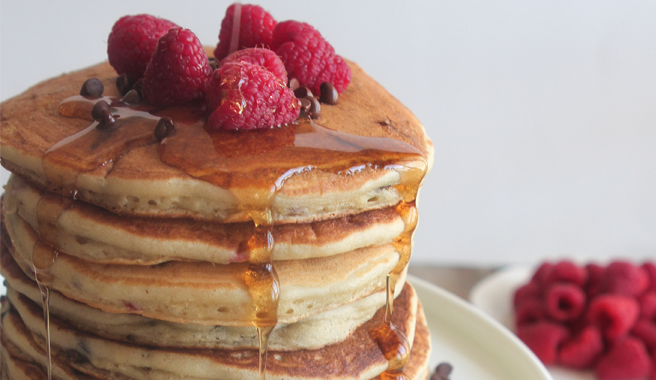 Raspberry Chocolate Chip Buttermilk Pancakes