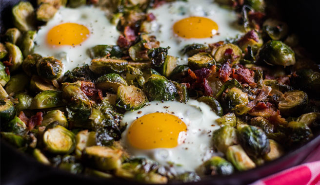 Bacon Egg & Shallot Brussel Sprouts