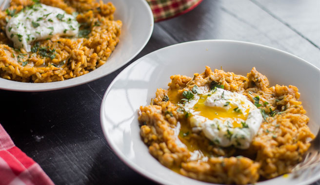 Brown Butter Pumpkin Risotto with Poached Eggs