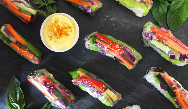 Summer Rolls loaded with vegetables and EB eggs