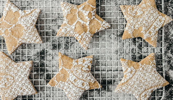 Cardamom Sugar Shortbread Star Cookies