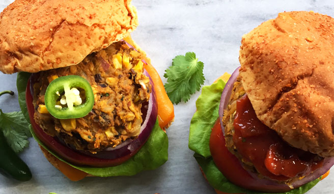 Southwestern Veggie Burgers with Jalapeno Ketchup