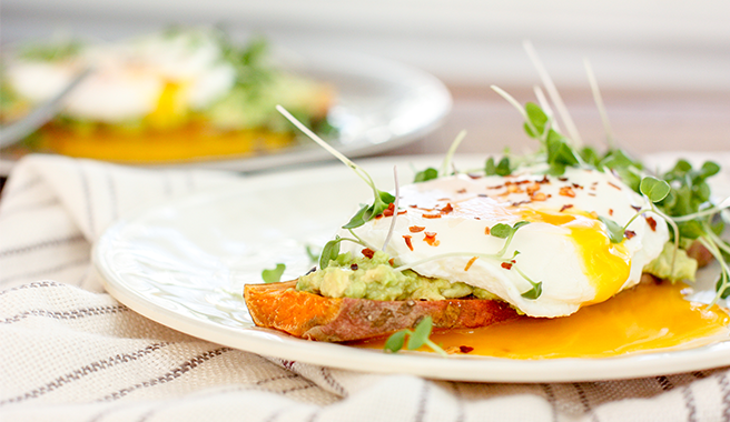 Avocado Sweet Potato Toast with Poached Egg