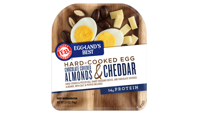 Chocolate Covered Almonds, Sharp Cheddar Cheese, and EB Hard-Cooked Egg