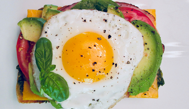Open-Face Fried Egg Sandwich with Pesto & Avocado
