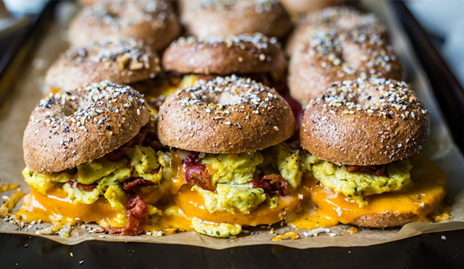 Bacon, Egg, and Cheese Bagel Breakfast Sliders