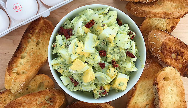 Pesto Egg Salad with Garlic Crostini