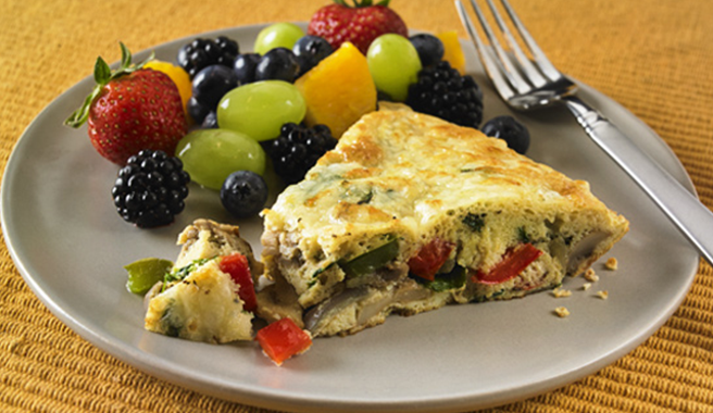 Cheese & Vegetable Frittata with Fruit Salad