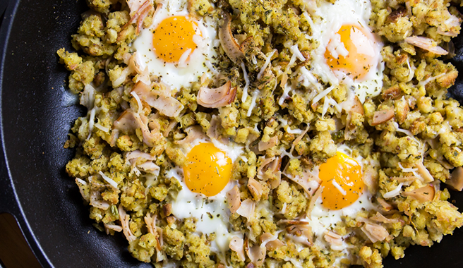 Turkey, Egg & Stuffing Hash