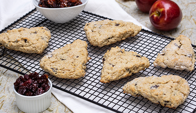 Michigan Cherry Apple Fresh Eggnog Scones with Cherry Apple Bacon Jam
