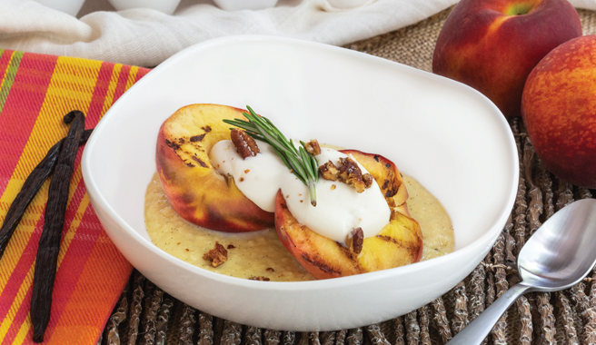 Grilled Colorado Peach Sundaes with Candied Pecans & Warm Vanilla Custard Sauce