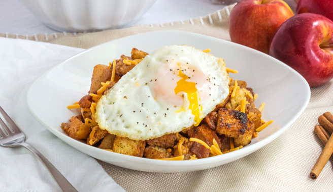 Apples & Cinnamon with Toasted Croutons & Crispy Eggs