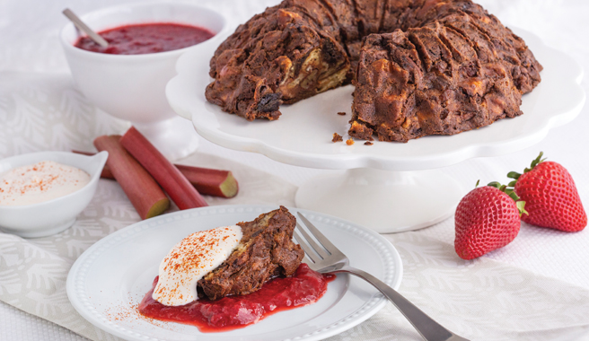 Chocolate Cayenne Pepper Bread with Strawberry Rhubarb Sauce and Spicy Whipped Cream