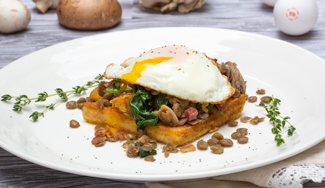 Fried Eggs with Mushroom, Lentil Hash over Cheesy Polenta Squares